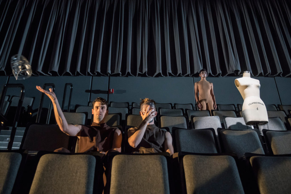 Hubbard Street Dancers Andrew Murdock, Elliot Hammans, and Adrienne Lipson in Space, In Perspective by Peter Chu. Photo by Todd Rosenberg.