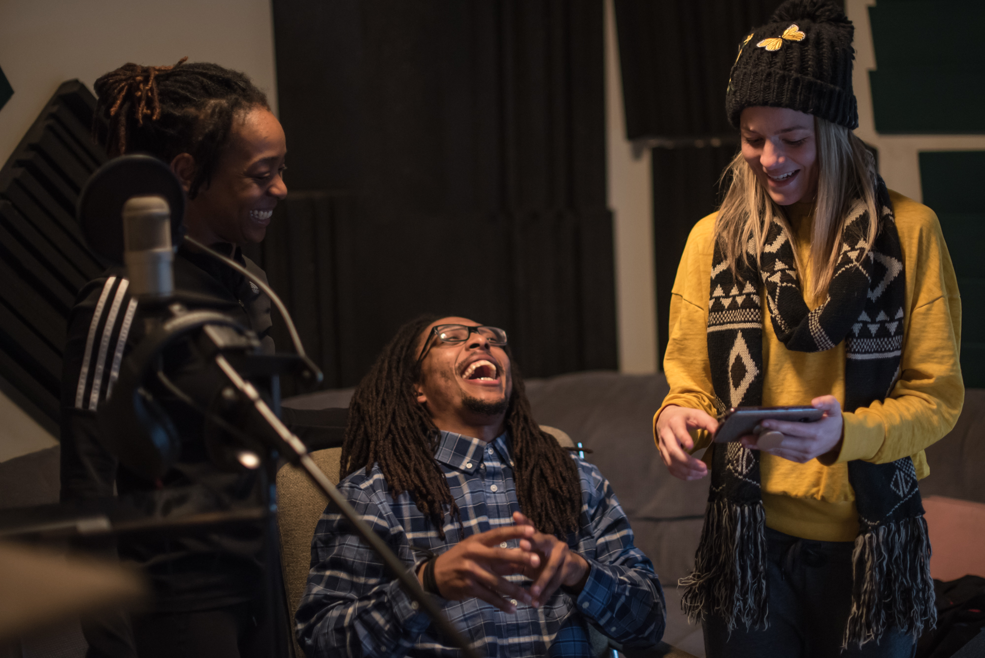 """Porscha Spells, Elijah Motley and Jessica Deahr at Heart and Soul, Chicago, during recording for the score design by Jessica Deahr and Johnny Nevin for Chicago Dance Crash's """"Lil Pine Nut"""" (Photo by Johnny Nevin)"""